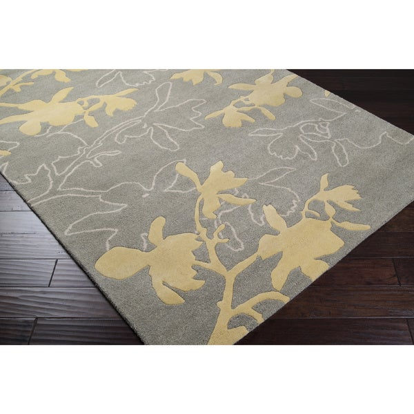 Jef Designs Hand-tufted Contemporary Grey/Yellow Dupion Wool Floral Rug (3'6 x 5'6)