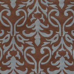 Hand-tufted Brown Oasis Wool Rug (5' x 8')