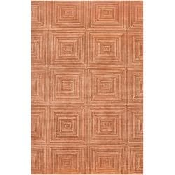 Candice Olson Hand-knotted Orange Arseno Geometric Wool Rug (8' x 11')