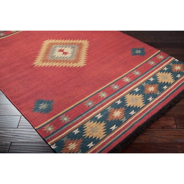 Hand Woven Burgundy Southwestern Aztec Acero Wool Rug 8