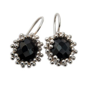 Black Onyx Sterling Silver Earrings (India)