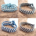 Set of 3 Cotton Wax Rope Silver Beads Radiance Bracelet (Thailand)