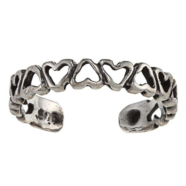 Sterling Silver Open Heart Chain Toe Ring