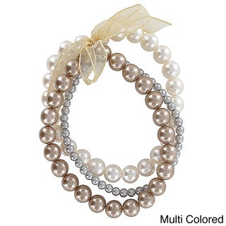 Roman Multi-colored Faux Pearl 3-row Ribbon Stretch Bracelet