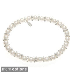 Roman Silvertone Rondelle Cream Faux Pearl Stretch Bracelet