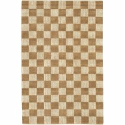 Hand-woven Mandara Tan-Brown Rug (7'9 x 10'6)