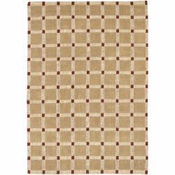Handwoven Mandara Tan Geometric Pattern Rug (2' x 3')