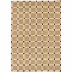 Hand-woven Mandara Checkerboard Patterned Tan and Burgundy Rug  (7'9 x 10'6)
