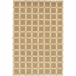 Handwoven Mandara Tan/Green Rug (5' x 7'6)