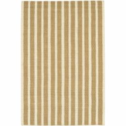 Handwoven Mandara Tan Striped Rug (5' x 7'6)