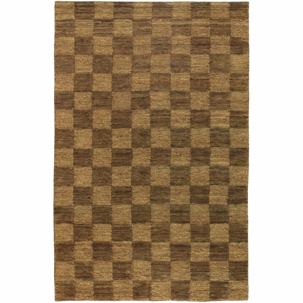 Checkerboard Rug: Hand-woven Mandara Brown Checkerboard Rug