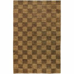 Hand-woven Mandara Brown Checkerboard Rug