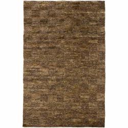 Hand-woven Mandara Brown Rug (7'9 x 10'6)