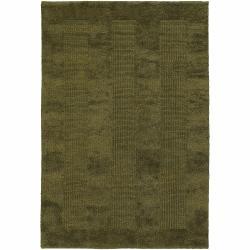 Handwoven Mandara Green/Tan Rug (5' x 7'6