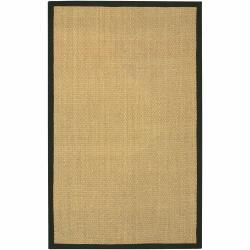 Hand-woven Mandara Black Border Rug (5' x 8')