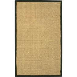 Hand-woven Mandara Black Border Rug (8' x 10')