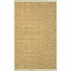 Hand-woven Mandara Green Border Rug (3'6 x 5'6)