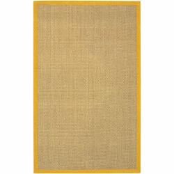 Hand-woven Mandara Orange Border Rug (5' x 8')