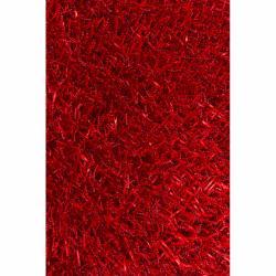Handwoven Mandara Red Shag Polyester Rug (7'9