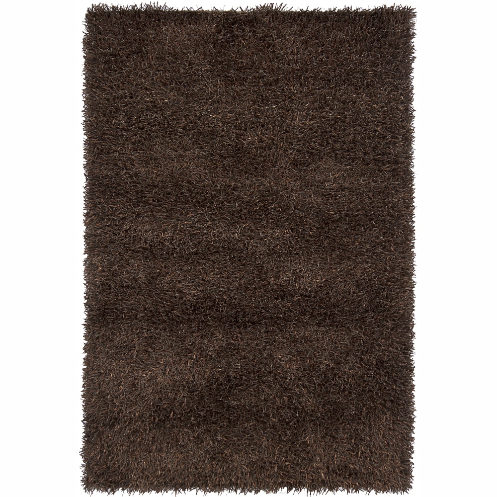 Handwoven Mandara Dark Brown/Black Shag Rug (5' x 7'6)
