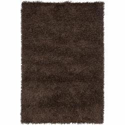 Handwoven Mandara Dark Brown/Black Shag Rug (5' x 7'6)