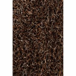 Handwoven Mandara Dark Brown/Black Shag Rug (7'9 x 10'6)