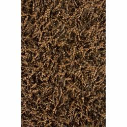 Handwoven 2.5-Inch Mandara Brown Shag Rug (5' x 7'6)