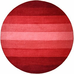 Hand-tufted Red Stripe Wool Rug (8' Round)