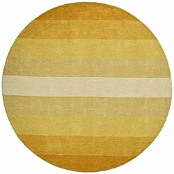 Hand-tufted Yellow Stripe Wool Rug (8' Round)