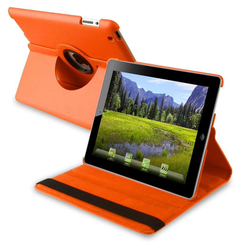 INSTEN Orange 360-degree Swivel Leather Tablet Case Cover for Apple iPad 2