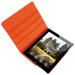 Orange 360-degree Swivel Leather Case for Apple iPad 2