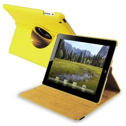Yellow 360-degree Swivel Leather Case for Apple iPad 2