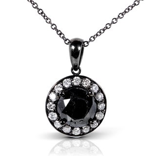 Annello 14k Gold 2 1/8ct TDW Certified Black Solitaire Diamond Necklace (K-L, I2)