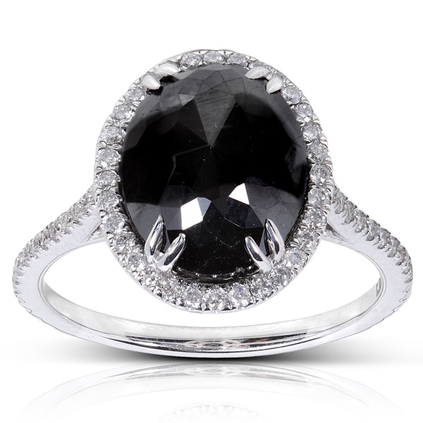 14k Gold 6 1/10ct TDW Certified Black and White Diamond Ring (H-I, I1-I2)