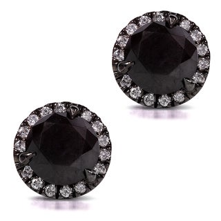 Annello 14k Gold 3 3/4ct TDW Certified Black and White Diamond Earrings (H-I, I2)
