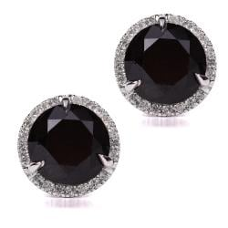 Annello 14k Gold 6 2/5ct TDW Certified Black and White Diamond Earrings (I-J, I2)