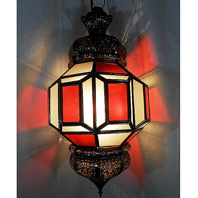Iron and Stained Glass Arabian Red 1-light Chandelier (Morocco)