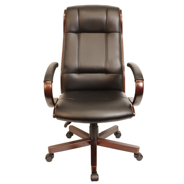 Comfort Products Affinity Ergonomic Executive High Back Faux Leather Chair with Wood Trim