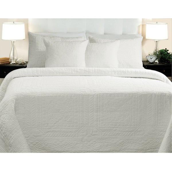 Greenland Home Fashions Adele Cotton King-size White 3-piece Quilt Set