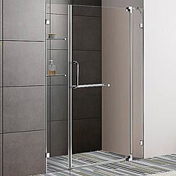 Vigo 54-inch Clear Glass Frameless Shower Door with Chrome Hardware (3/8-inch)