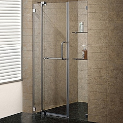 Vigo 48-inch Clear Glass Frameless Shower Door with Brushed Nickel Hardware