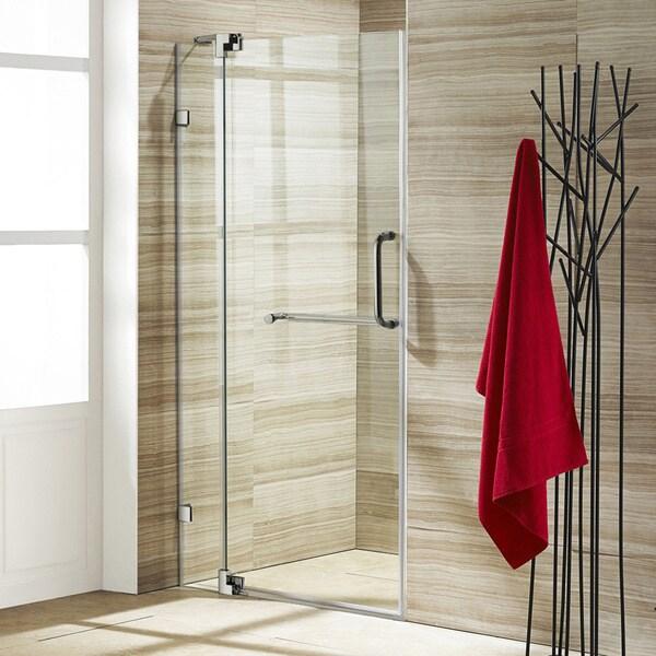 Vigo 42-inch Clear Glass Frameless Shower Door with Brushed Nickel Hardware