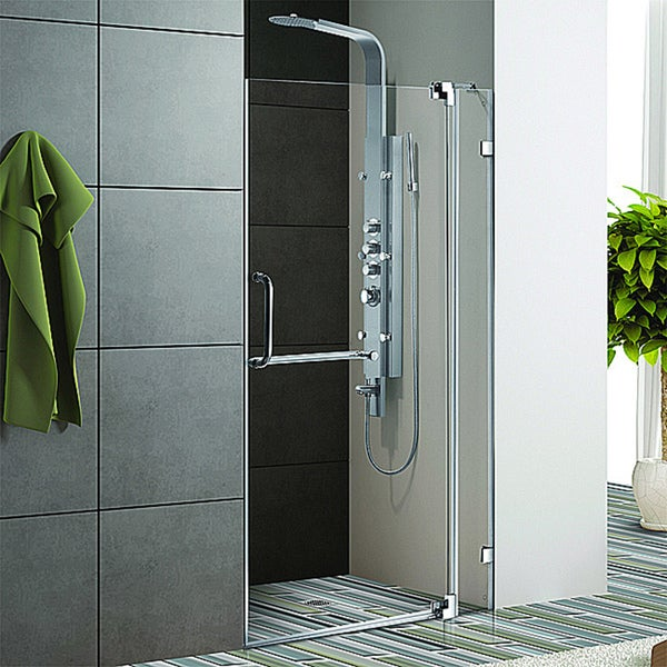 Vigo 42-inch Clear Glass Frameless Shower Door with Chrome Hardware