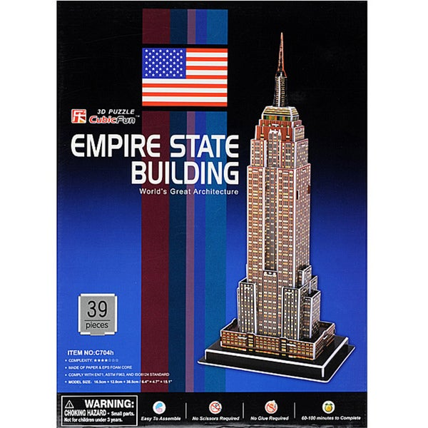 CubicFun NYC Empire State Building 39-piece Foam and Paper 3D Puzzle