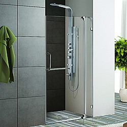 Vigo 36-inch Clear Glass Frameless Shower Door with Brushed Nickel Hardware