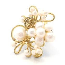 Freshwater White Pearl Floral Mesh Wrap Free-Size Ring (Thailand)