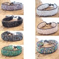 Shimmering Four Row Crystal Net Leather Bracelet (Thailand)