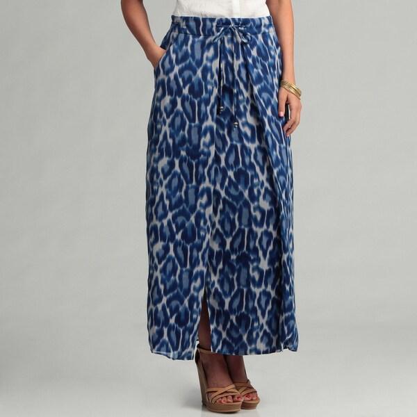 Jessica Simpson Junior's Blue Leopard Maxi Skirt