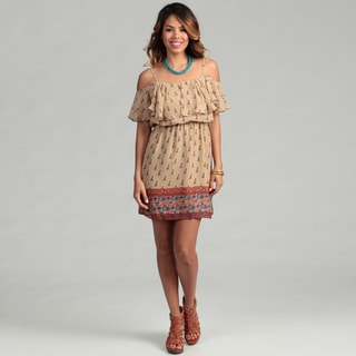 Jessica Simpson Junior's Boho Border Tiered Dress