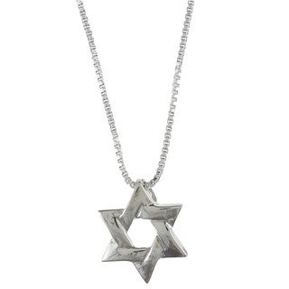 Sterling Silver Interwoven 'Star of David' Necklace
